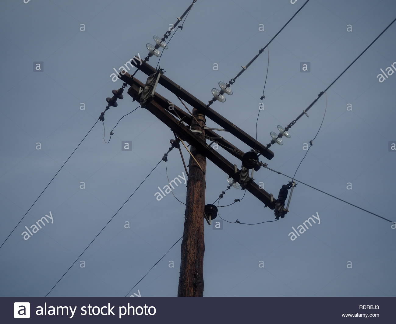 A grids view ,electric current pylon - Stock Image