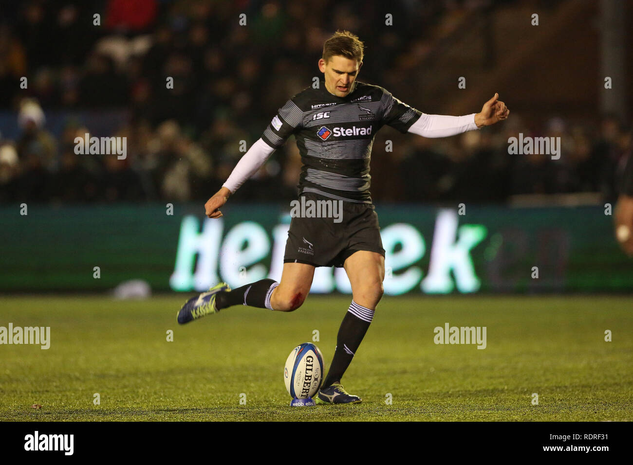 Newcastle Upon Tyne, UK. 18th Jan 2019.  Newcastle's Toby Flood in action during the European Champions Cup match between Newcastle Falcons and Rugby Club Toulonnais at Kingston Park, Newcastle on Friday 18th January 2019. (Photo Credit: MI News & Sport /Alamy Live News - Stock Image
