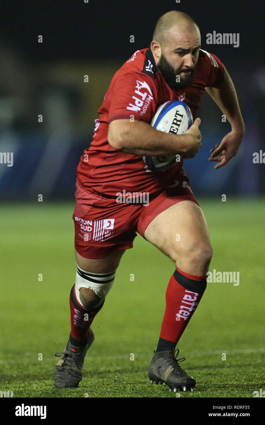 Newcastle Upon Tyne, UK. 18th Jan 2019.  Toulon's Bastien Soury during the European Champions Cup match between Newcastle Falcons and Rugby Club Toulonnais at Kingston Park, Newcastle on Friday 18th January 2019. (Photo Credit: MI News & Sport /Alamy Live News - Stock Image