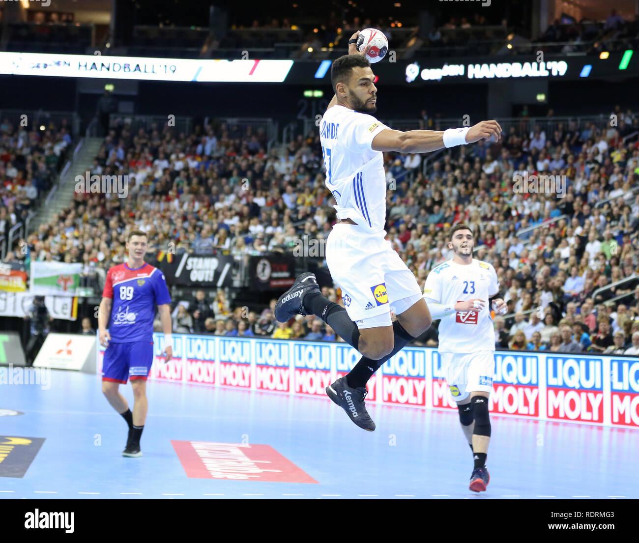 Germany. Berlin, Germany. 17th Jan 2019. IHF Handball Men's World Championship, Berlin, Germany.Adrien Dipanda for France Credit: Mickael Chavet/Alamy Live News - Stock Image