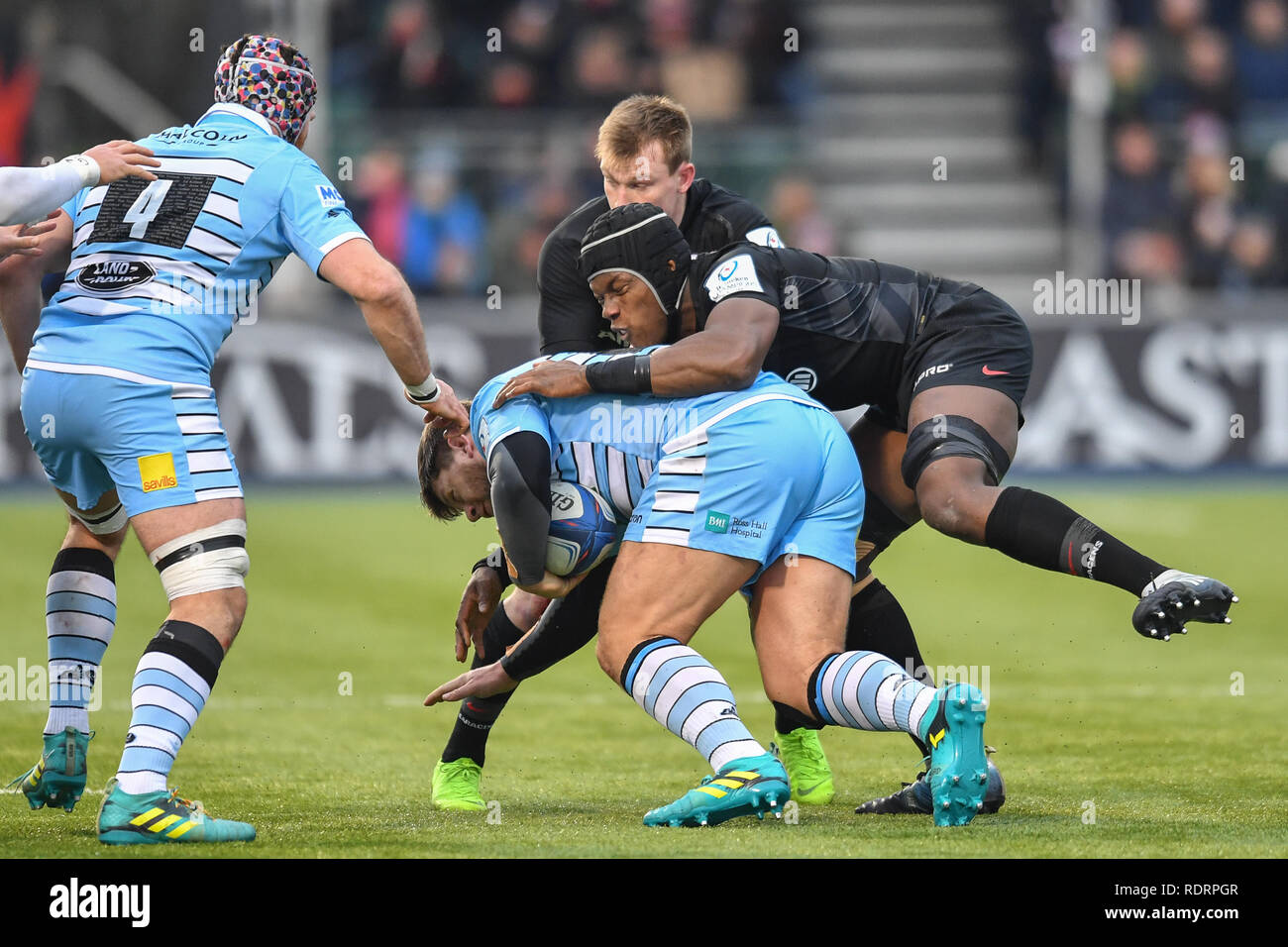 London, UK. 19th Jan, 2019. during Heineken Champions Cup between Saracens v Glasgow Warriors at Allianz Park on Saturday, 19 January 2019. LONDON ENGLAND.  (Editorial use only, license required for commercial use. No use in betting, games or a single club/league/player publications.) Credit: Taka Wu/Alamy Live News Stock Photo