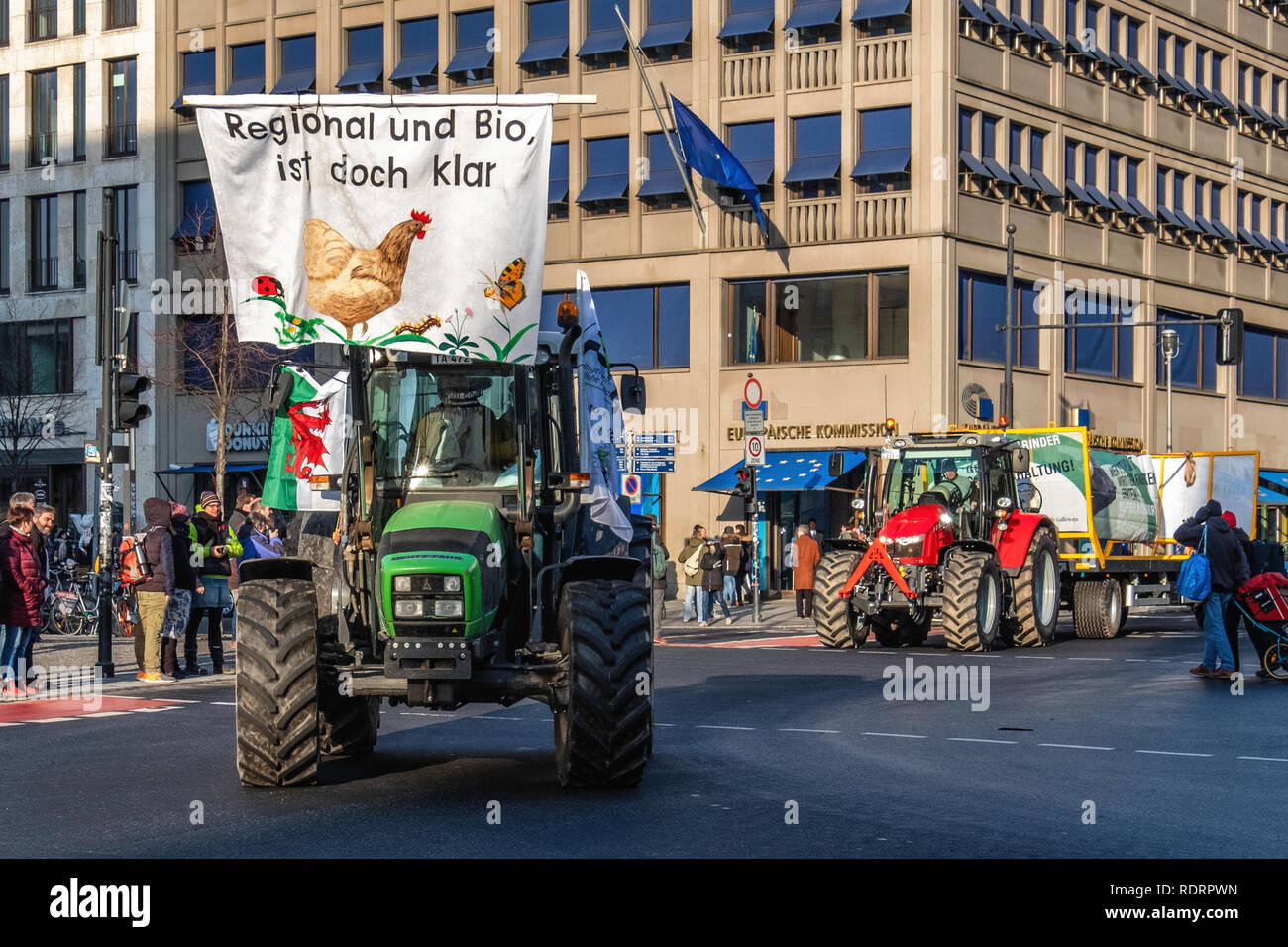 Berlin, Gemany, 19 January 2019. Farmers protest against the EU farm subsidies in Germany. A Parade of tractors  drove past the European Commission building in Unter den Linden as they took part in the protest march against current agricultural policy. Activists protest that large farming enterprises are favoured over smaller farms that support environmentally friendly methods. credit: Eden Breitz/Alamy Live News Credit: Eden Breitz/Alamy Live News Stock Photo