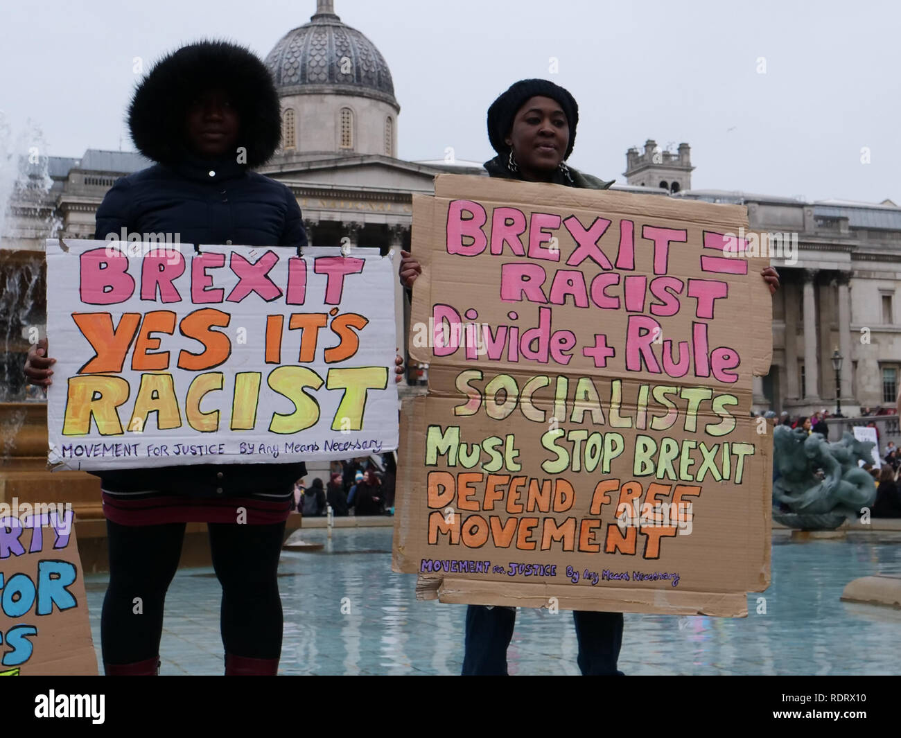 London, UK. 19th January 2019. Worldwide women's marches today, including in London against violence and austerity. The rally in London has been named 'Bread and Roses' in honour of the American feminist Rose Schneiderman, directing attention to the impact of austerity on women. Credit: Joe Kuis /Alamy Live News - Stock Image