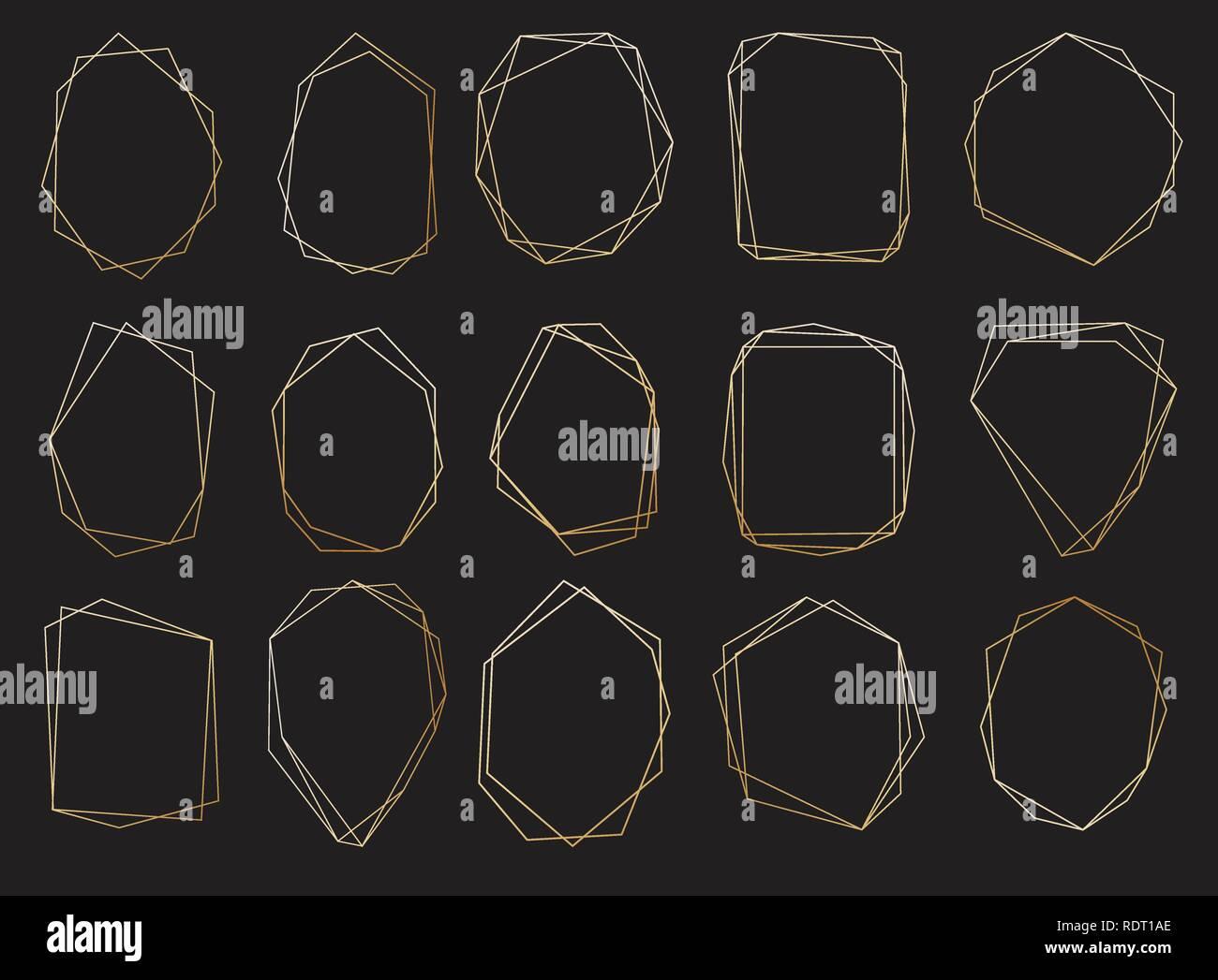 Polygonal frames set. Gold triangles, geometric shapes. - Stock Image