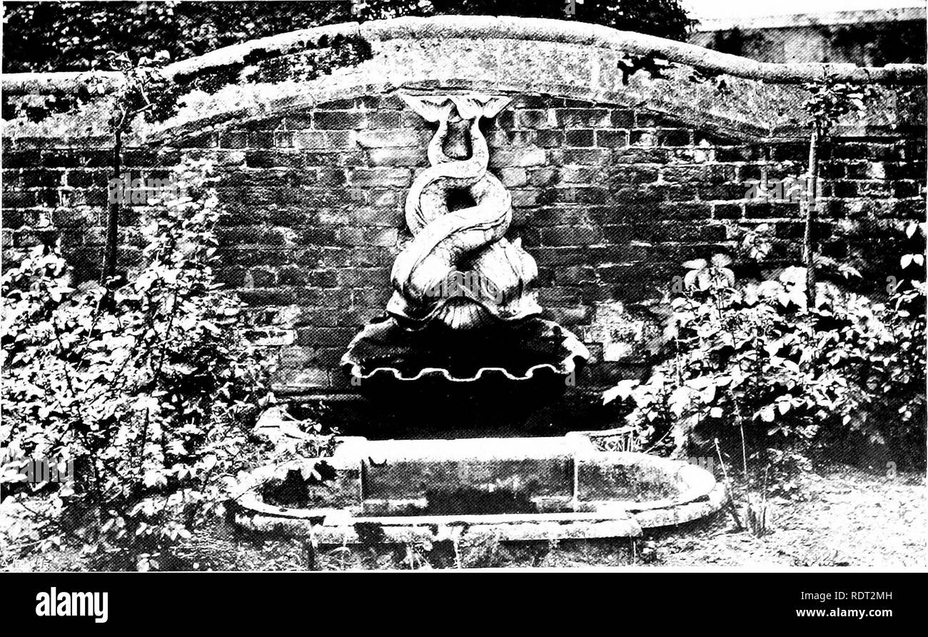 . Gardens for small country houses . Gardens, English. FIG. 222.—BY ALFRED GILBERT.. FIG. 223 —WALL FOUNTAIN AT HAMPTON COURT. Please note that these images are extracted from scanned page images that may have been digitally enhanced for readability - coloration and appearance of these illustrations may not perfectly resemble the original work.. Jekyll, Gertrude, 1843-1932; Weaver, Lawrence, Sir, 1876-. London : Published at the offices of Country Life . .. and by George Newnes . .. ; New York : Charles Scribner's Sons - Stock Image