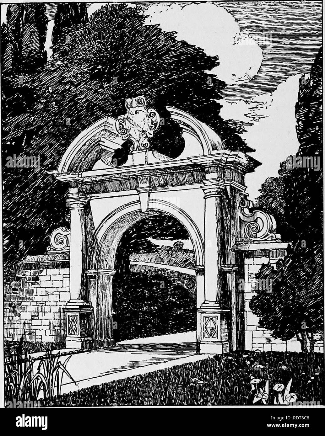 . Gardens in the making. Gardens; Landscape architecture; Landscape gardening. Fig. 15.—Stone Gateway.. Please note that these images are extracted from scanned page images that may have been digitally enhanced for readability - coloration and appearance of these illustrations may not perfectly resemble the original work.. Godfrey, Walter Hindes, 1881-. [London] B. T. Batsford, ltd - Stock Image