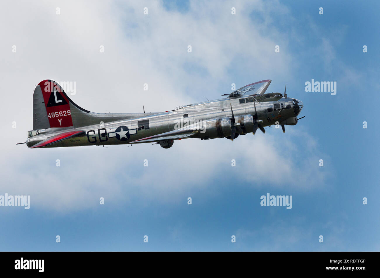 Boeing B-17 Flying Fortress the Army Air Corp bomberof World War II flying in a air show Stock Photo
