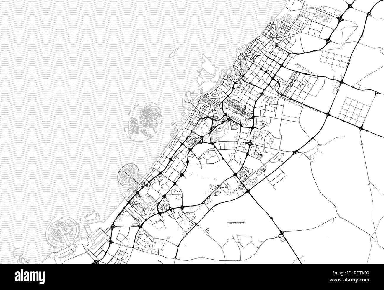 Area map of Dubai, United Arab Emirates. This artmap of Dubai ... Dubai Geography Map on