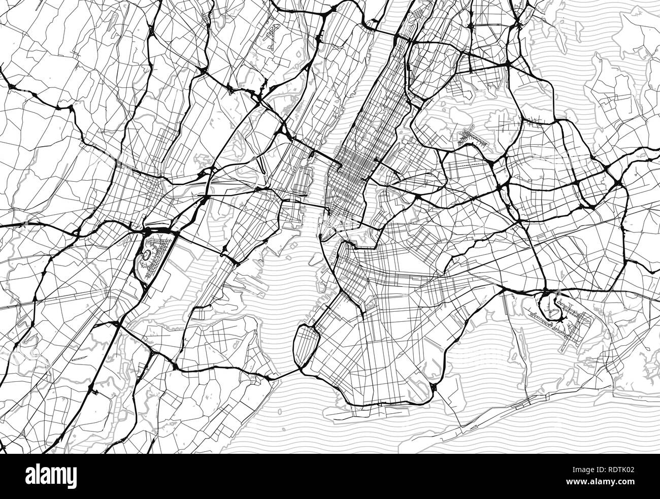 Area map of New York City, United States. This artmap of New York City contains geography lines for land mass, water, major and minor roads. - Stock Vector