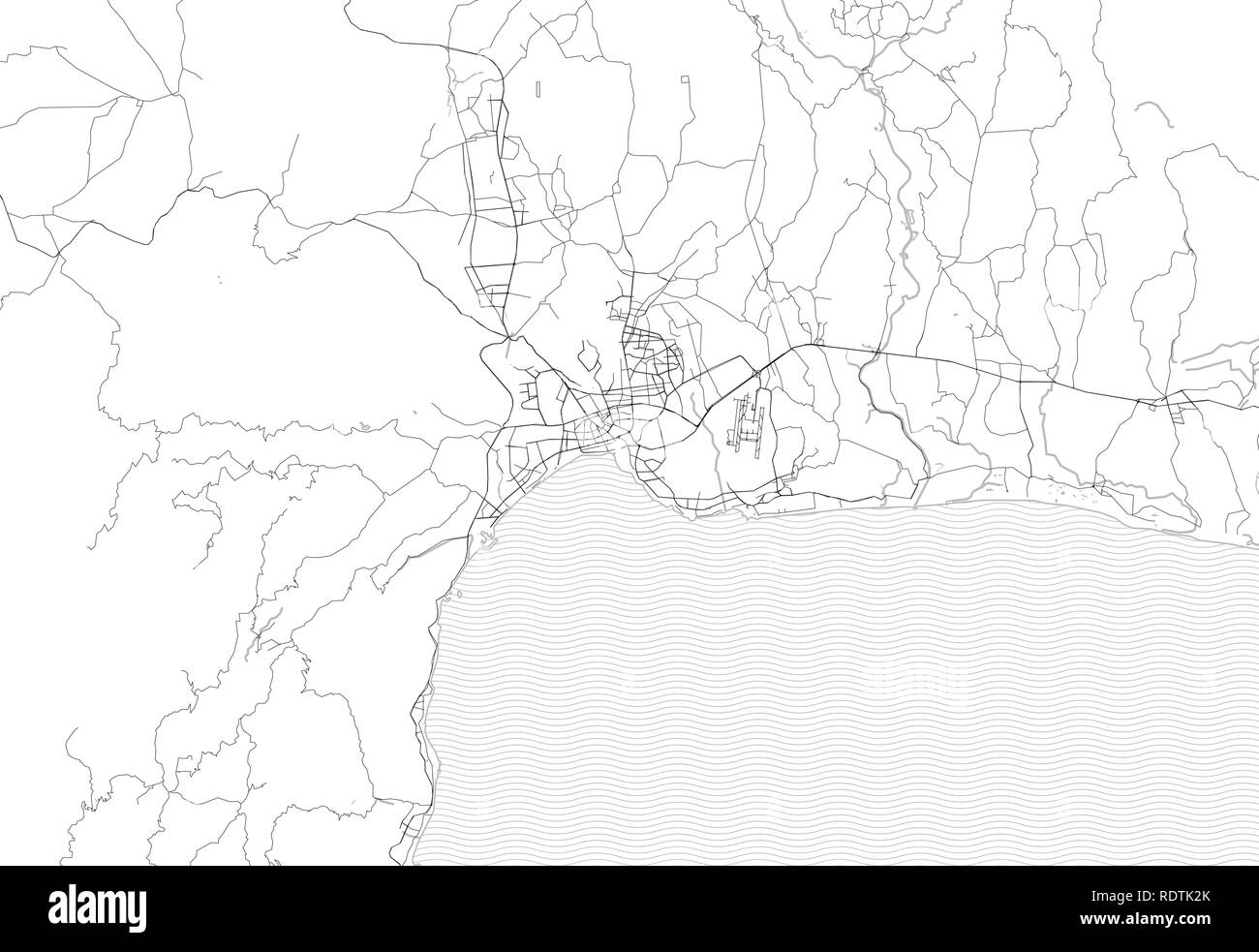 Area map of Antalya, Turkey. This artmap of Antalya contains geography lines for land mass, water, major and minor roads. - Stock Image