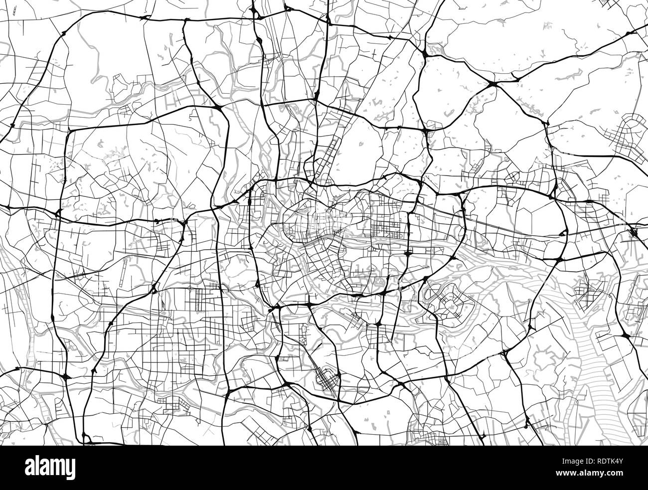Area map of Guangzhou, China. This artmap of Guangzhou contains geography lines for land mass, water, major and minor roads. - Stock Image