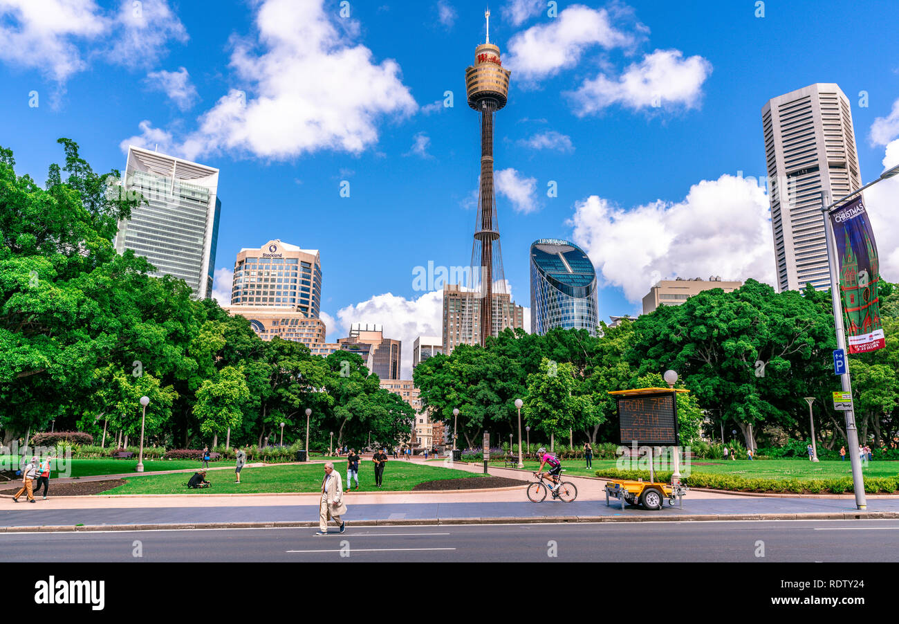 23th December 2018, Sydney NSW Australia: Panorama of Hyde Park with people and Sydney CBD skyline and Sydney tower eye in background in NSW Australia - Stock Image