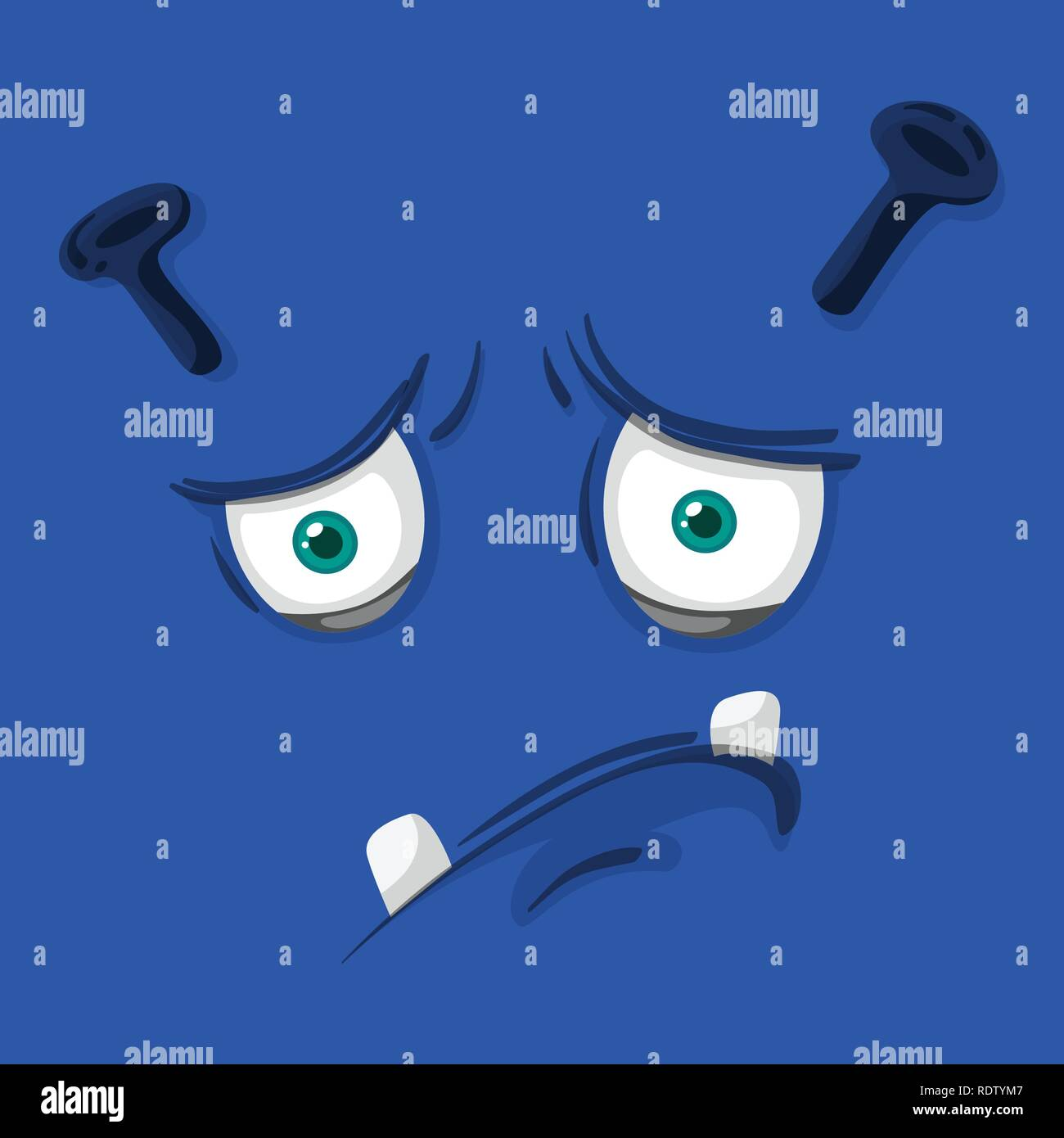 A face of blue monster face illustration Stock Vector