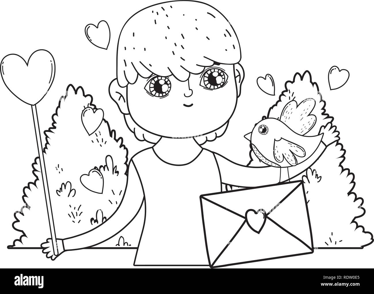 young cute lover boy with love envelope - Stock Vector