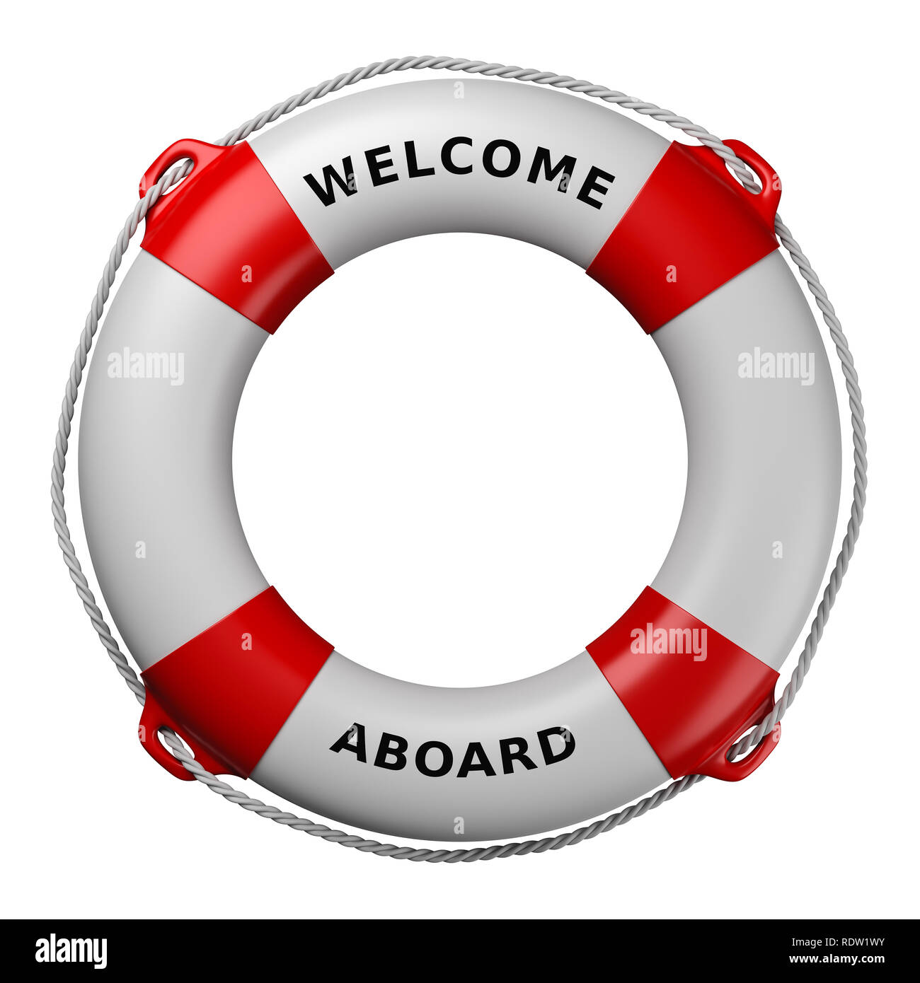 dd33d6c4ef81 Lifebuoy with Welcome Aboard Text Isolated on White Background 3D  Illustration - Stock Image