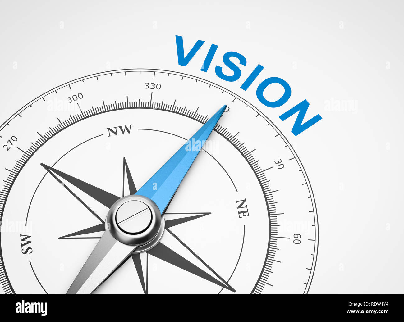 Magnetic Compass with Needle Pointing Blue Vision Word on White Background 3D Illustration Stock Photo