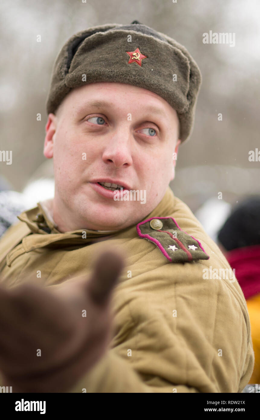 St. Petersburg, Russia - February 23, 2017: The Soviet soldier with signs of distinction in celebration of the Day of Defender of the Fatherland. Hist - Stock Image