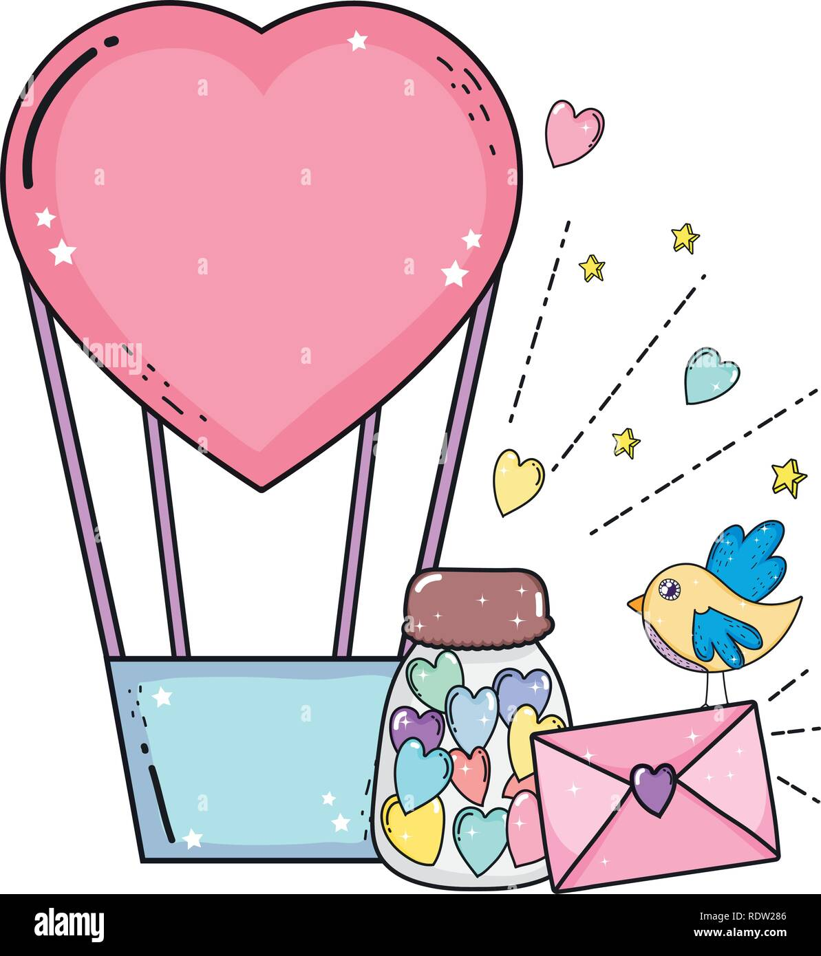 balloon air hot with heart shape and envelope - Stock Vector