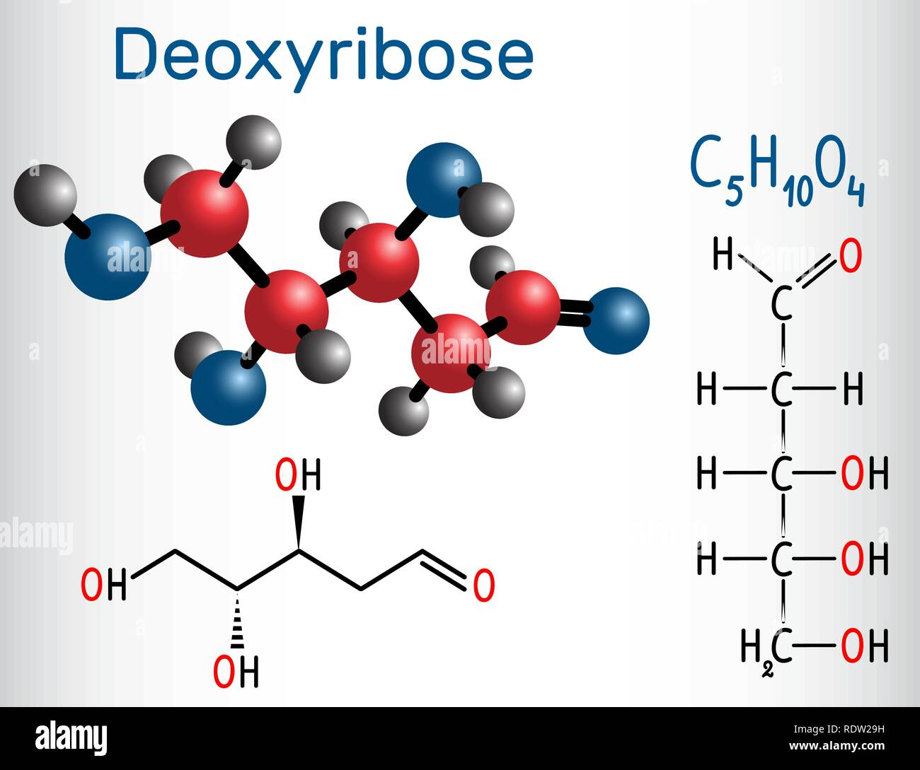 Linear form (acyclic) of Deoxyribose molecule, it is a monosaccharide (deoxy sugar), which has all the hydroxyl groups on the same side. Structural ch - Stock Image