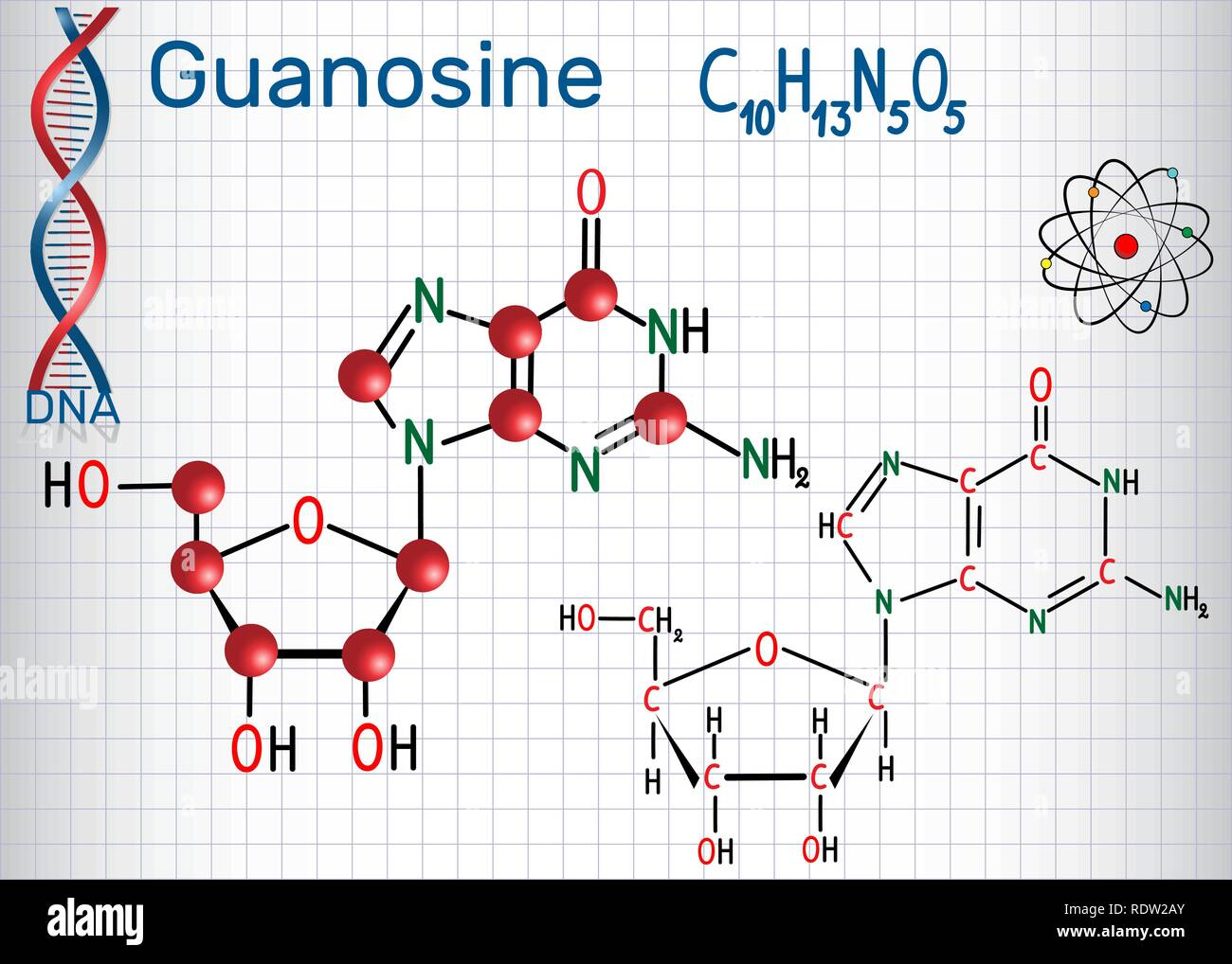 Guanosine - purine nucleoside molecule, is important part of GMP, GDP, cGMP , GTP, RNA, DNA. Structural chemical formula and molecule model. Sheet of  - Stock Image