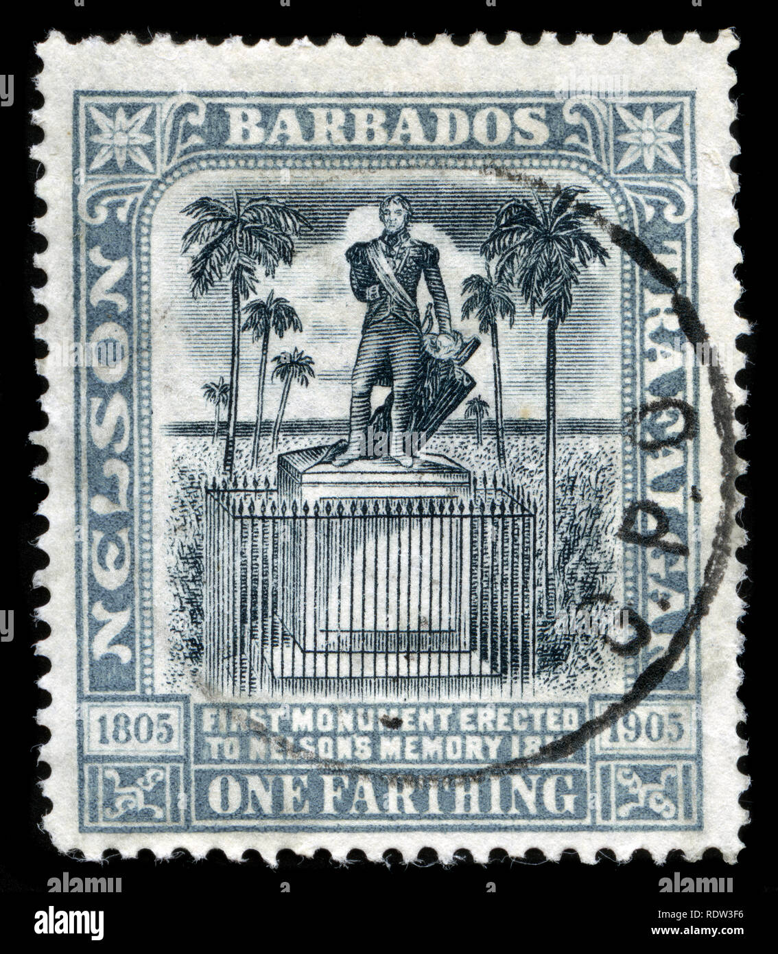 Postage stamp from Barbados in the Nelson Centenary series issued in 1906 - Stock Image