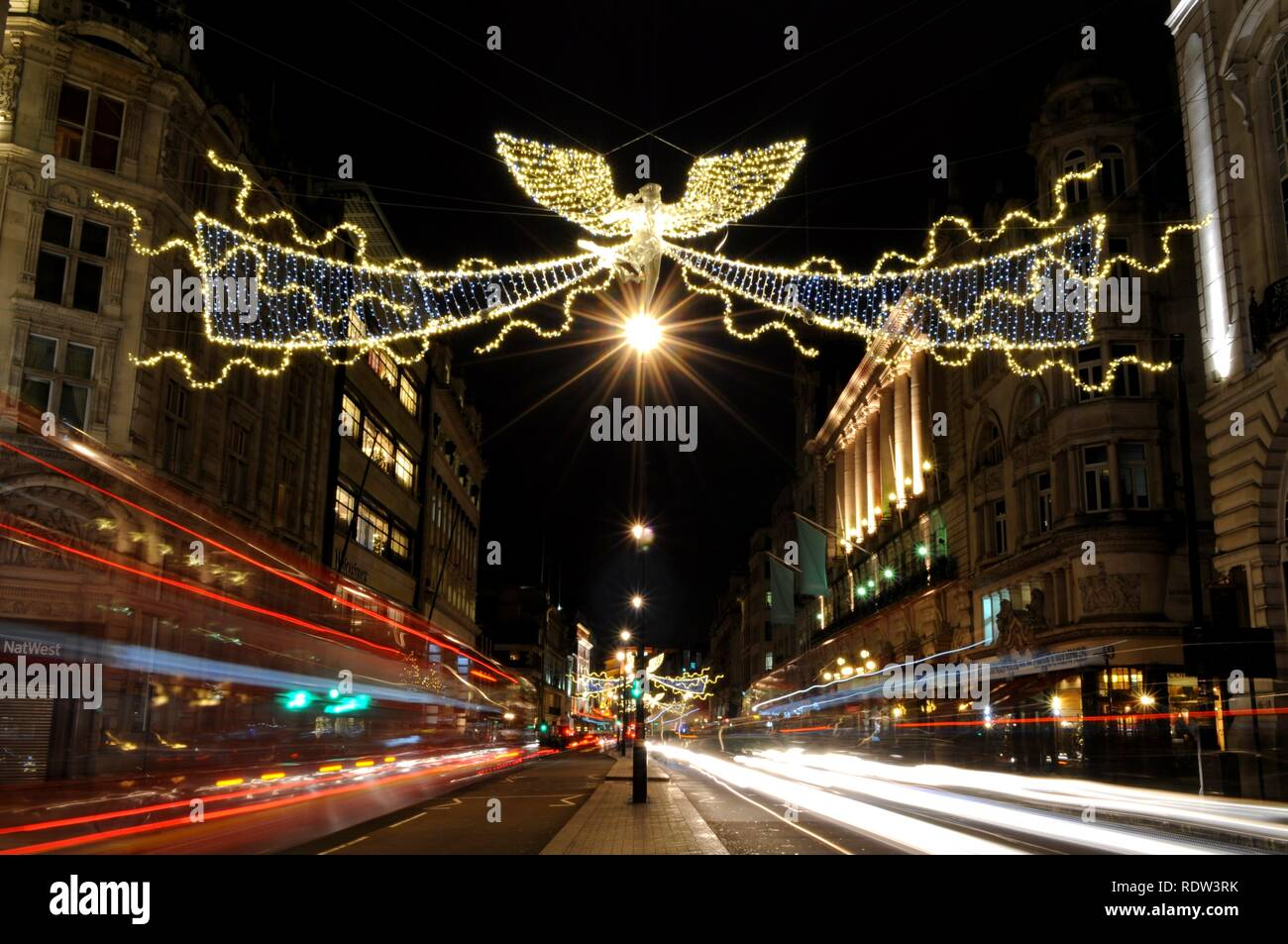 2017 Christmas light display over Piccadilly, created by James Glancy Design Ltd, London, UK. - Stock Image