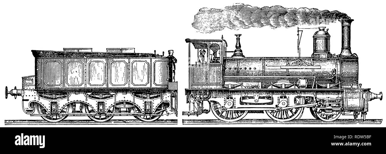 engraving of Victorian steam engine - Stock Image