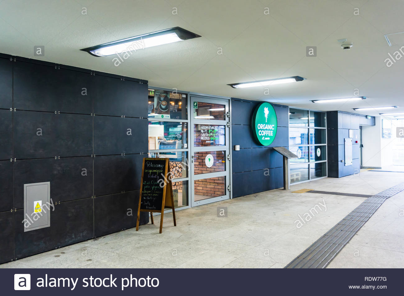 Poznan, Poland - November 21, 2018: Organic Coffee cafe in the