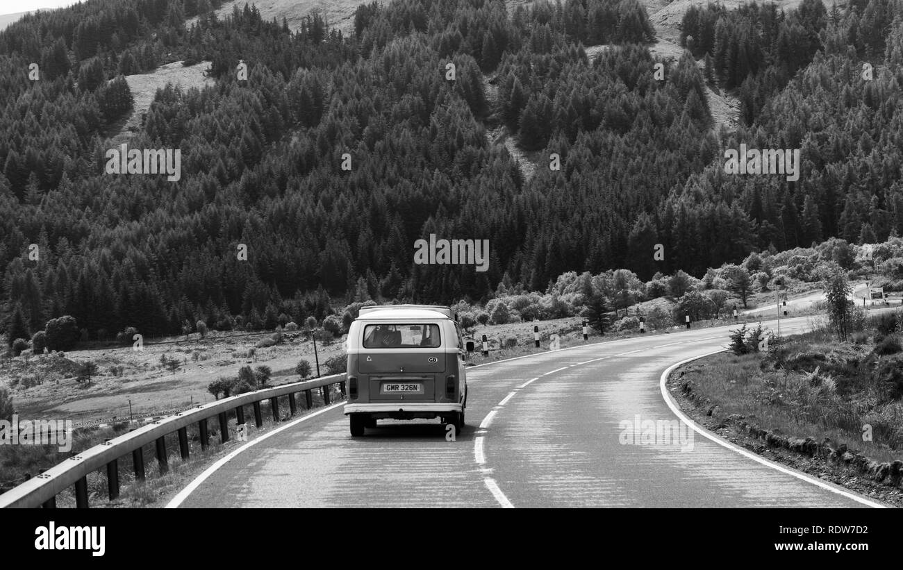 VW Camper on the North Coast 500, Scotland - Stock Image