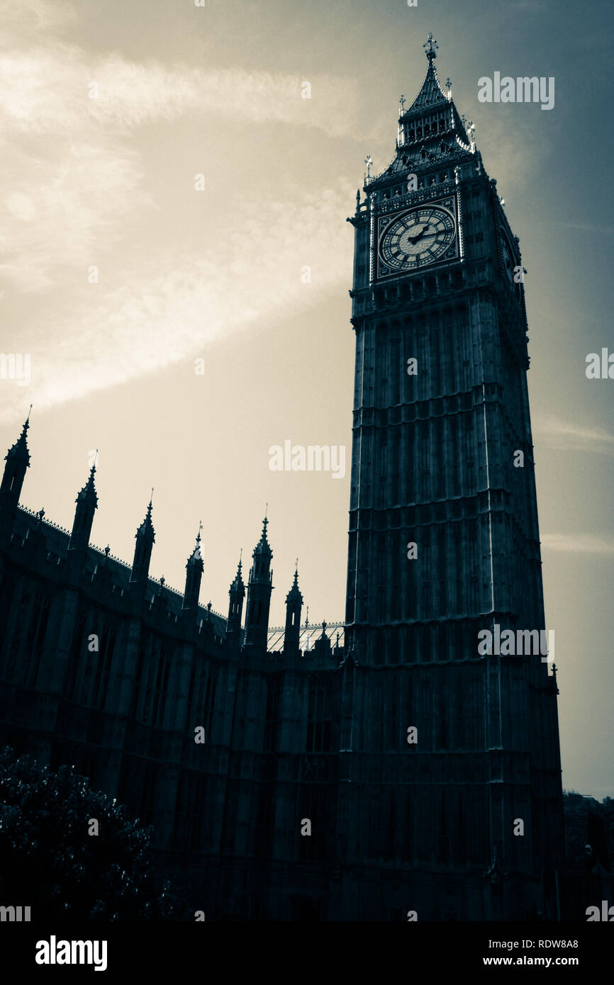 Old-fashion photography of the Elizabeth Tower, commonly known as Big Ben, at the Palace of Westminster in London, United Kingdom Stock Photo