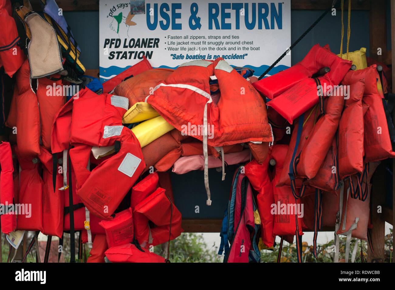 Life Preservers for use at Everett marina - Stock Image
