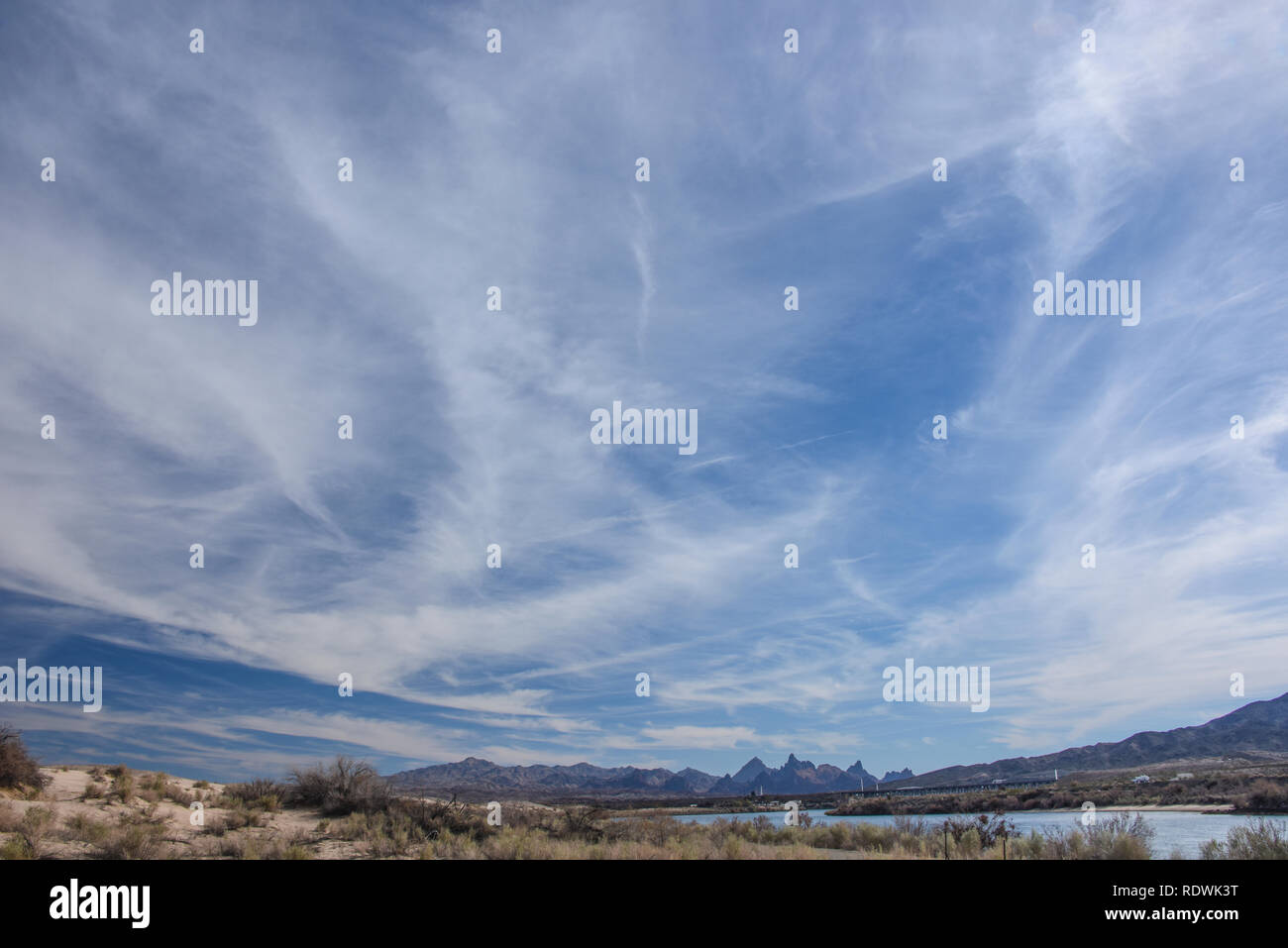 Wispy Clouds over Needles Mountains, California - Stock Image