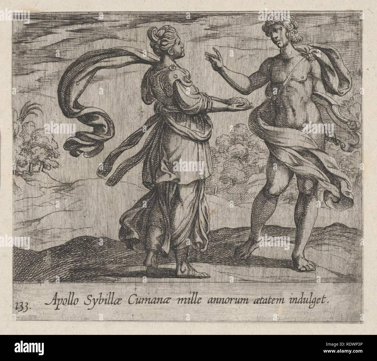 Apollo Granting the Cumaean Sybil's Wish (Apollo Sybillae Cumanae mille annorum atatem indulget), from Ovid's The Metamorphoses, plate 133 - Stock Image