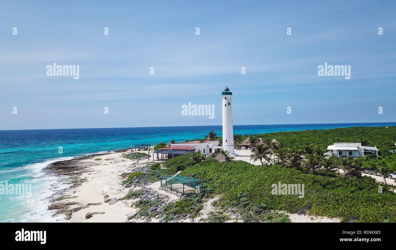 Beautiful old school Light house drone shots different views Mexico Island Cozumel Stock Photo