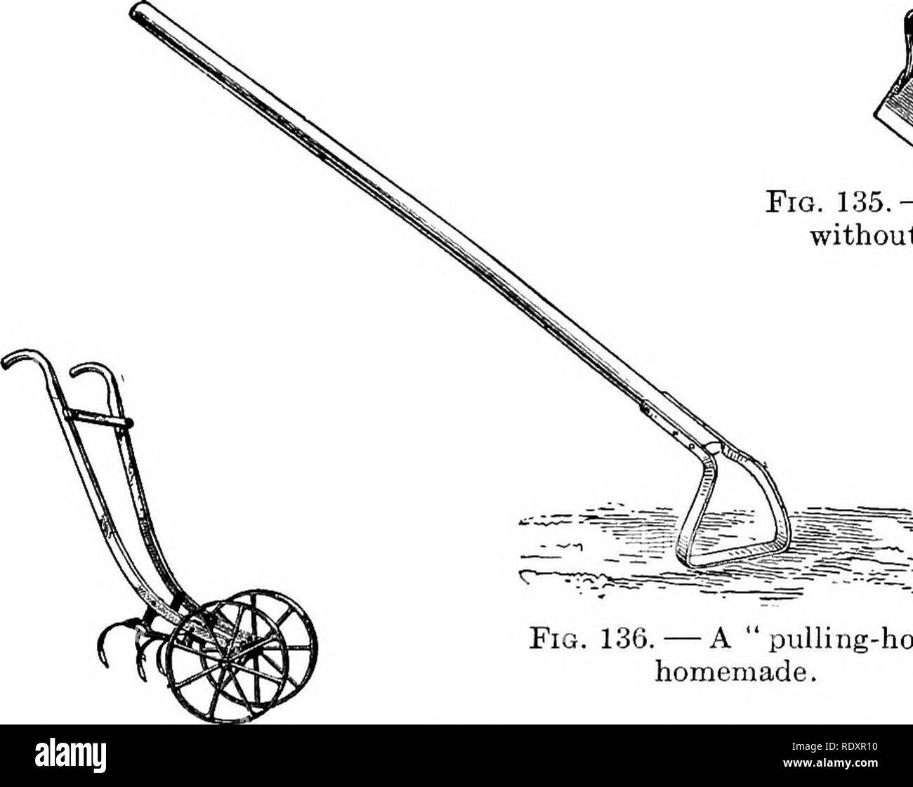 . The beginner's garden book; a textbook for the upper grammar grades. Gardening. GARDEN TOOLS 245 One is the push- or scuffle-hoe, a hoe which has a blade ...