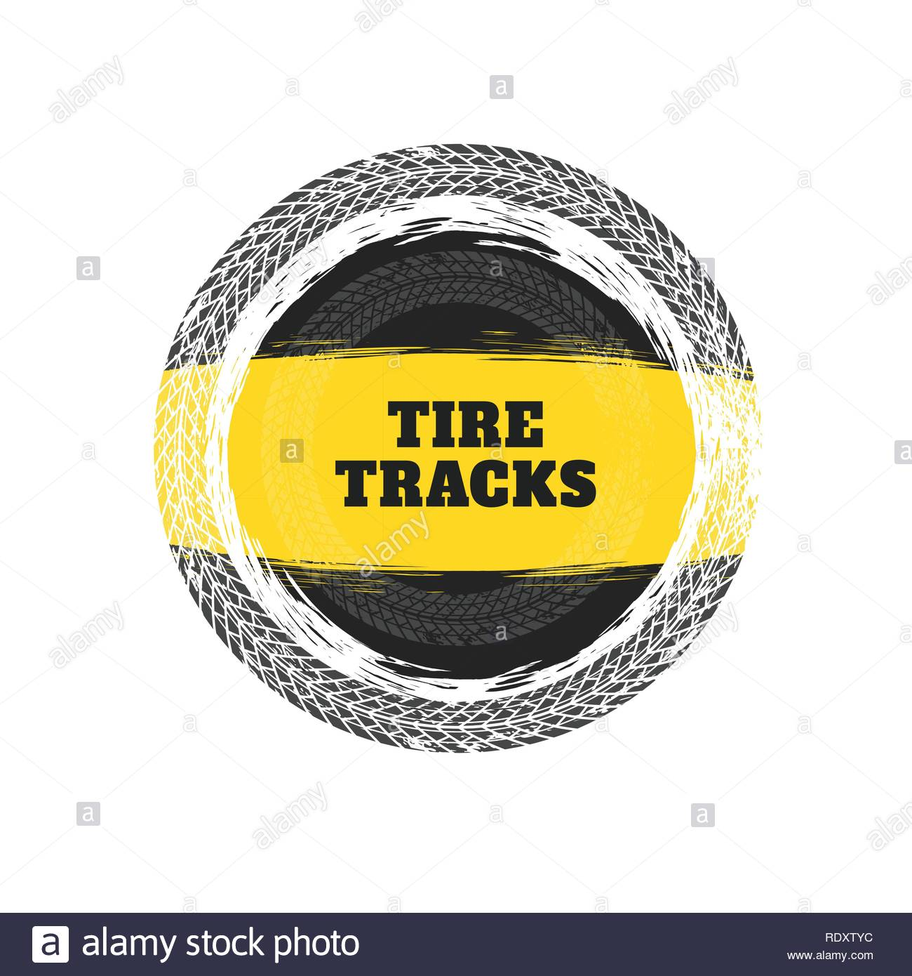 tire tracks circular frame background - Stock Image