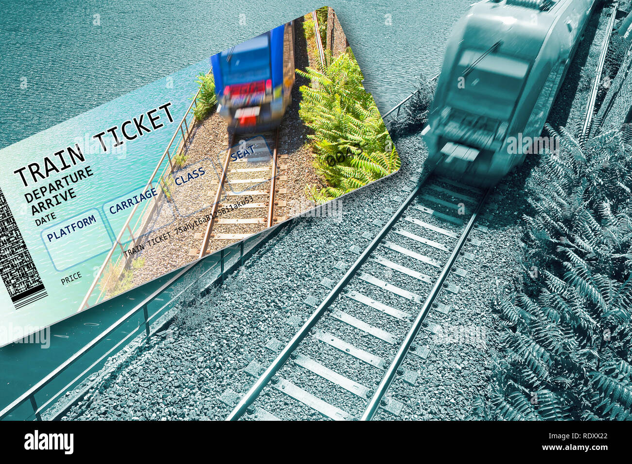 Train ticket - concept image with copy space - The contents of the image are totally invented. The background image, with train, is a picture of my pr - Stock Image