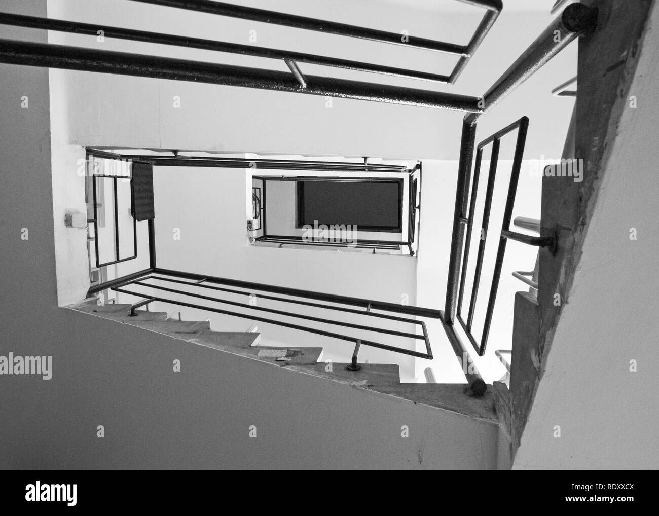 TEL AVIV, ISRAEL - December 28 2018: Staircase in an old Bauhaus Residential building.Tel Aviv has the large number of buildings in the Bauhaus/Intern - Stock Image