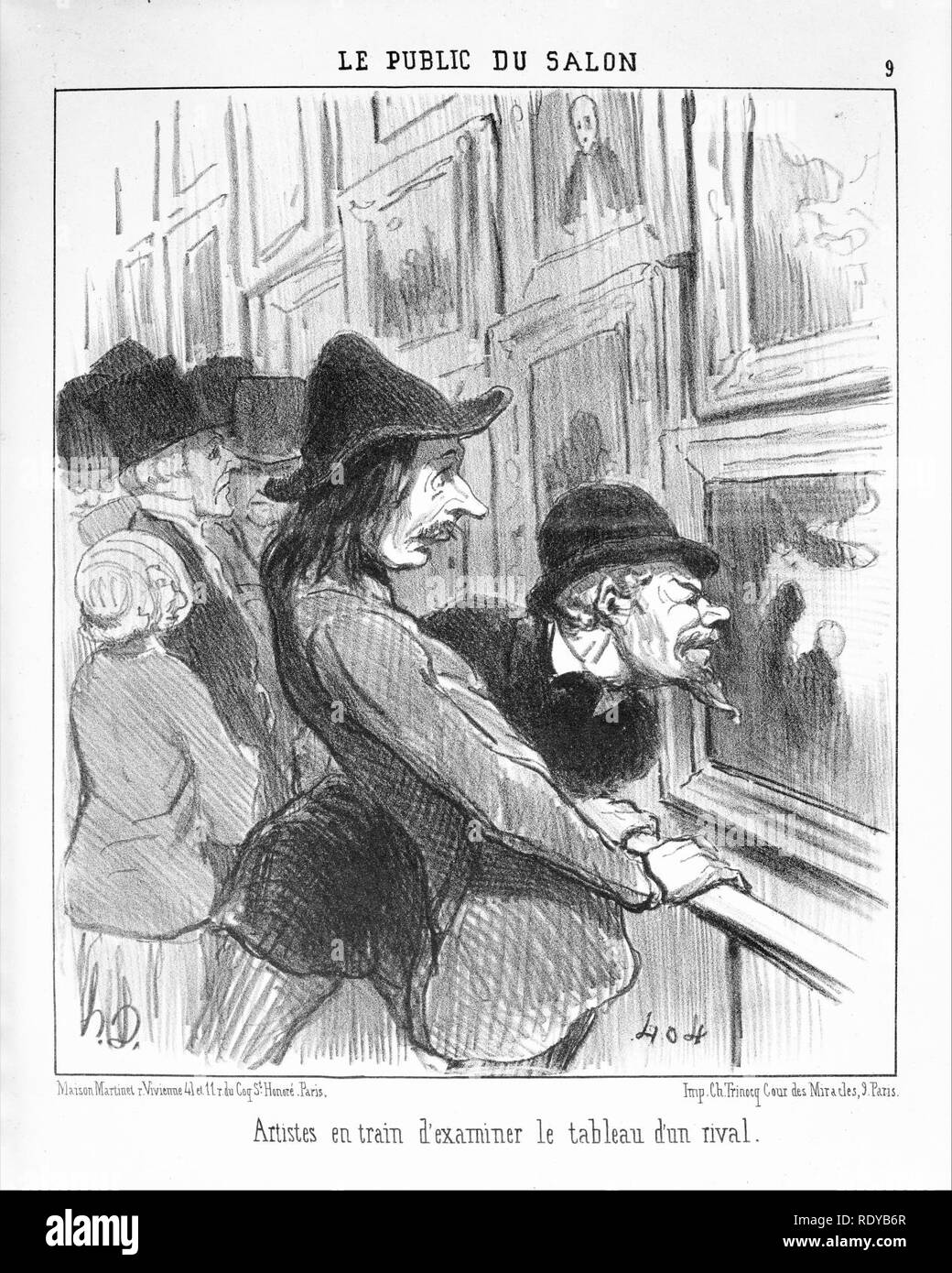 Artists Examining the Work of a Rival (Artistes en train d'examiner le tableau d'un rival), from Le Public du Salon, published in Le Charivari, May 14, 1852 - Stock Image