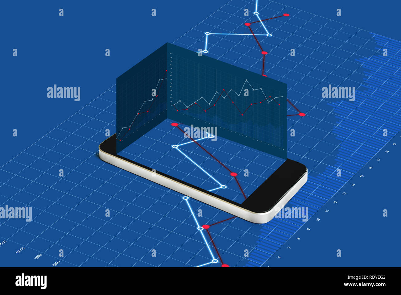 Mobile smart phone and blue raising graph background - Stock Image