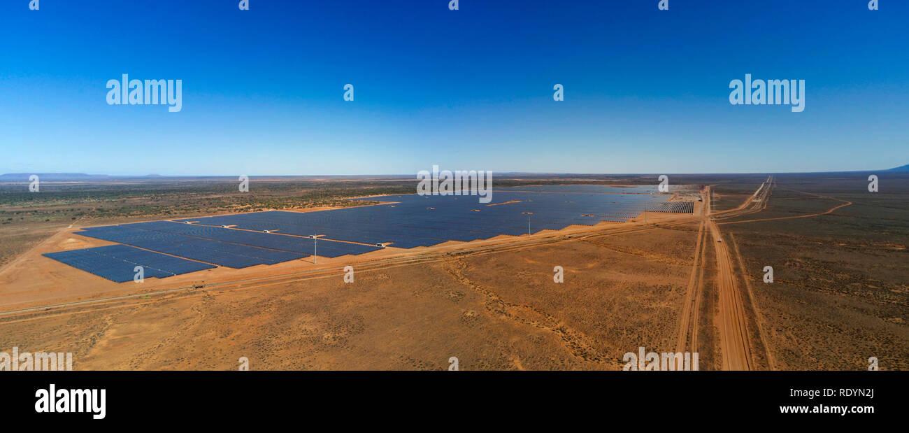 Bungala Solar Farm (Dec 2018) is the largest solar farm in Australia with covering an area of 800 acres. Near Port Augusta South Australia - Stock Image