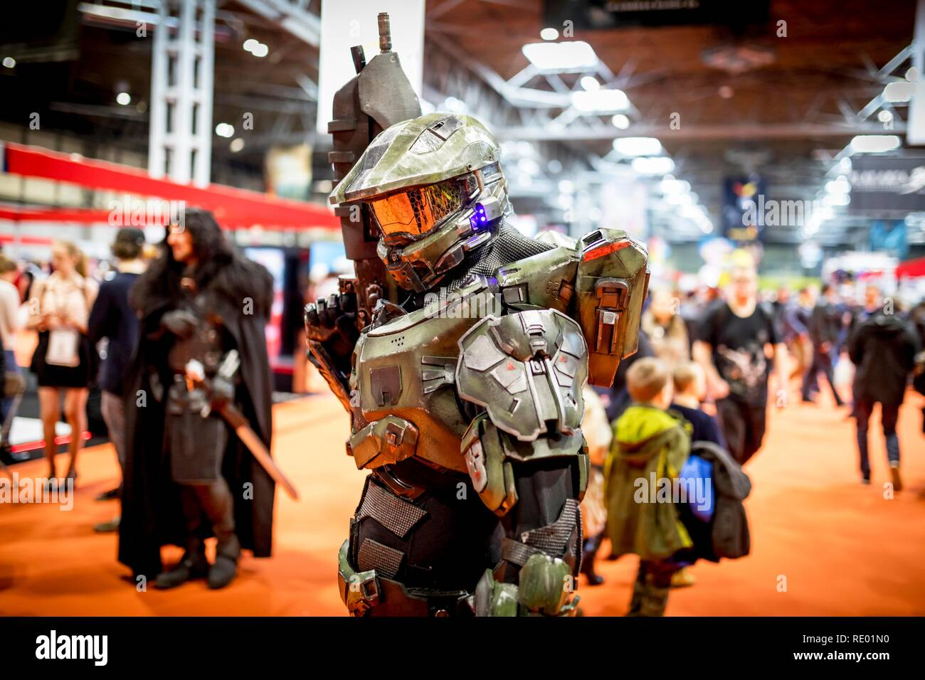 Birmingham, UK - March 17, 2018. A cosplayer dressed as an Halo Master Chief the Activision video game series at a comic con in Birmingham, UK - Stock Image