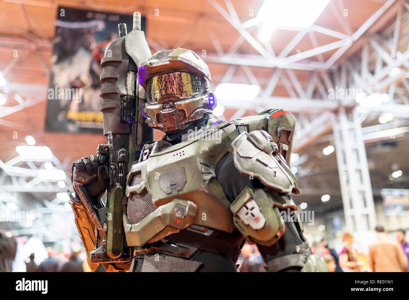 Birmingham, UK - March 17, 2018. A cosplayer dressed as an Halo Master Chief the Activision video game series at a comic con in Birmingham, UK. - Stock Image