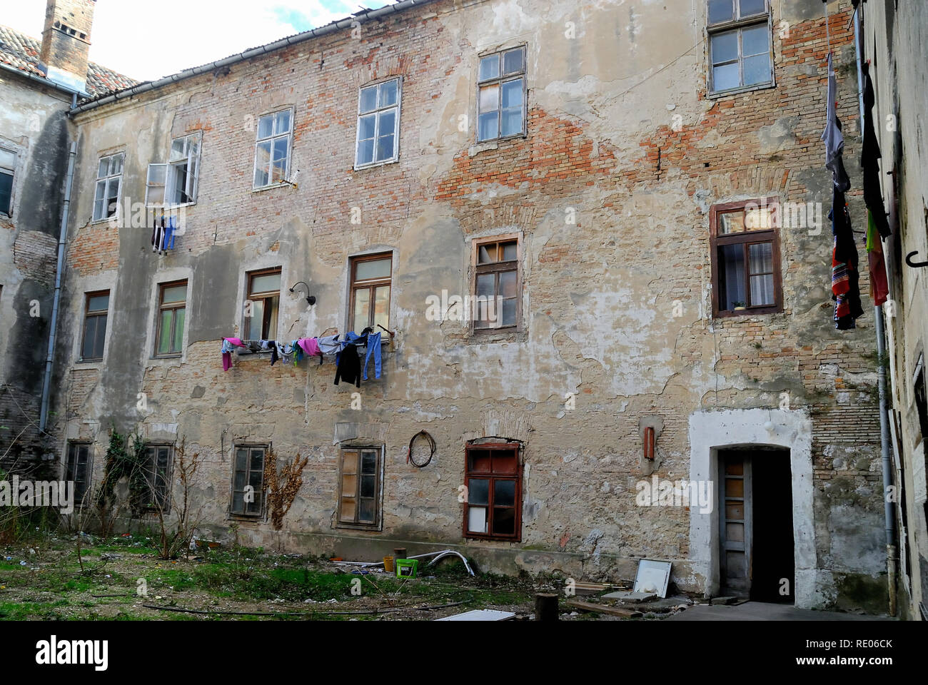 Senj, Croatia. Trg Clinica (English : Clinica square). Buildings occupied by homeless people. The courtyard. - Stock Image