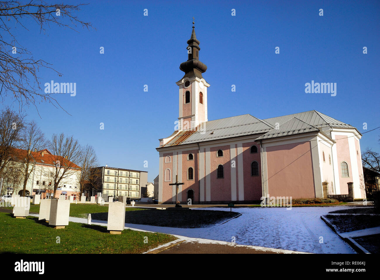 Otocac, Croatia. The  Church of the Holy Trinity. It was knocked down from the Yugoslav People's Army artillery on 15 September 1991 during the Yugoslav wars. The church has been destroyed several times over the centuries by fires and storms. - Stock Image