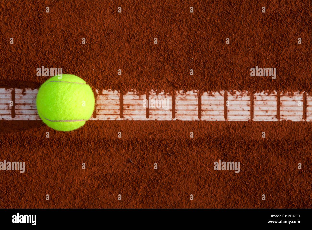 Tennisball on line, in - Stock Image