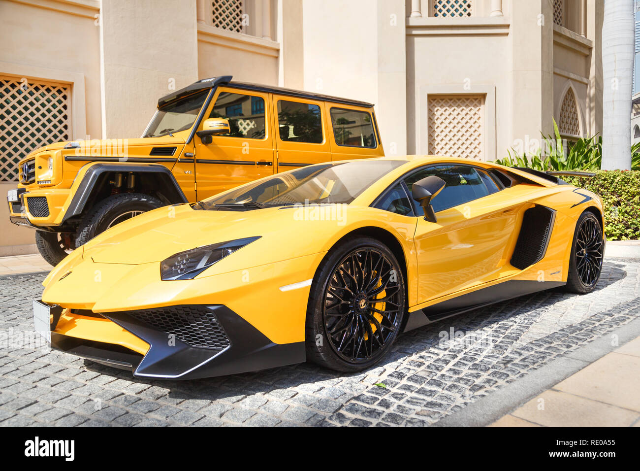Dubai Uae January 08 2019 Yellow Luxury Supercar Lamborghini