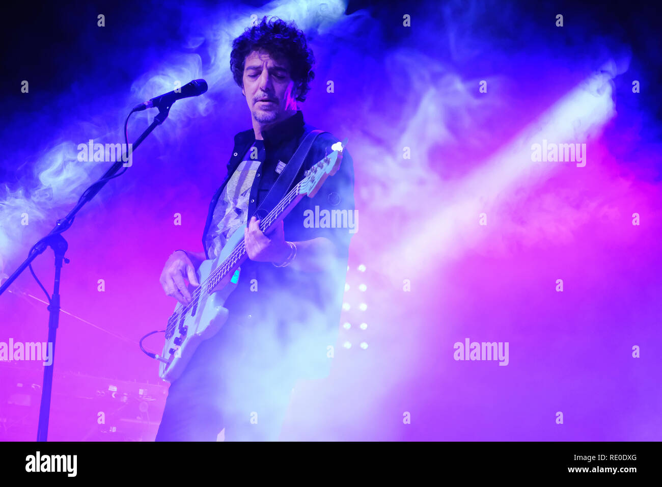 Turin, Italy. 04th Jan, 2019. Max Gazzè opens from Turin with three dates to the theater of the Concordia di Venaria his Tour to celebrate the 20 years of the historical album 'The story of Adam and Eve' from which the tour takes its name. Credit: Bruno Brizzi/Pacific Press/Alamy Live News - Stock Image