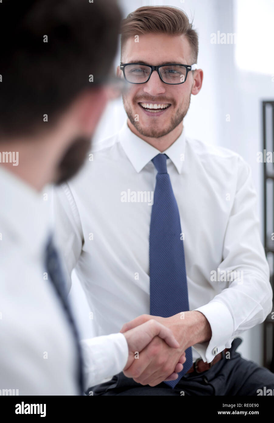 close up.welcome handshake of the company's employees Stock Photo