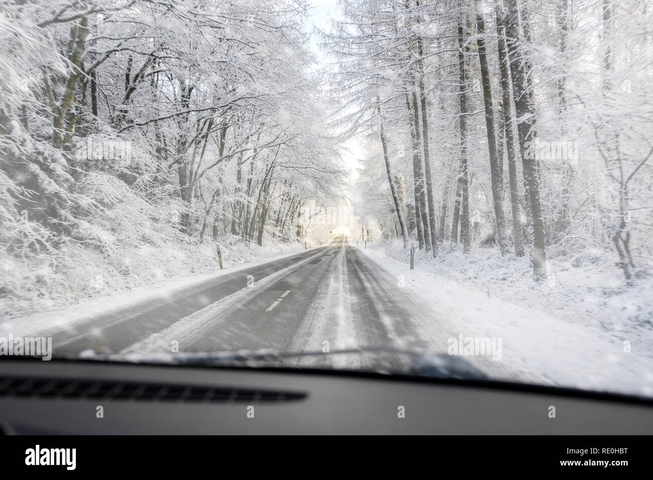 view through the windscreen when driving dangerously on a slippery forest road in the snow, copy space, selected focus - Stock Image